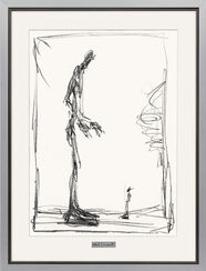 "Lithograph ""Dessin I (Big and Small)"" in silver framing"
