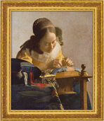 "Painting ""The Lacemaker"" (1669-70) in museum framing"