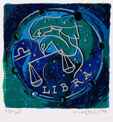 "Painting ""Zodiac Sign Libra"" (1996), framed"