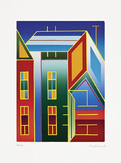 """Ludwig Gebhard: Bild """"Zwei Häuser"""" (2001), ungerahmt"""