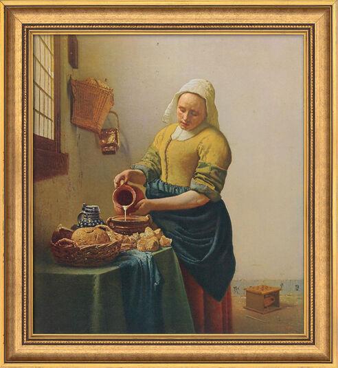 "Jan Vermeer van Delft: Bild ""Dienstmagd mit Milchkrug"" (1658), gerahmt"
