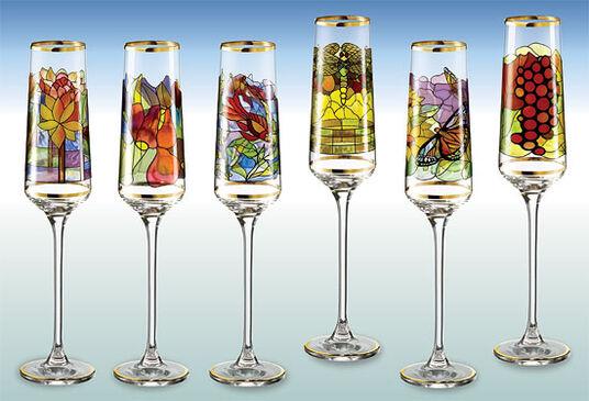 """Sammler-Edition """"Champagnerkelche"""" (6-teilig) - nach Louis C. Tiffany"""