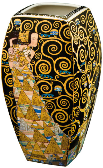 "Gustav Klimt: Porcelain Vase ""The Tree of Life"" with Gold/Platinum Deco"
