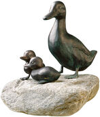 "Garden sculpture ""Mother Duck"", copper on stone"