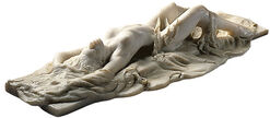 """Sculpture """"Lying Act with Towel II"""", version in artificial marble"""