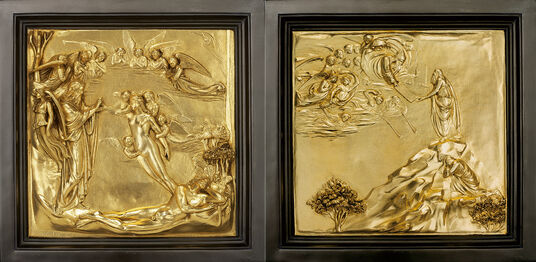 Lorenzo Ghiberti: 2 wall reliefs 'The Creation of Eve' and 'Moses Receives the Tables of the Law' in one set (reduction)