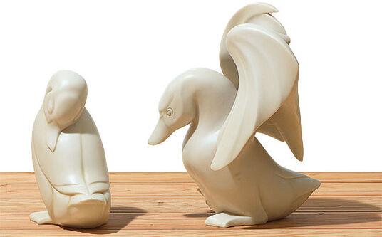 "Jagna Weber: Sculpture couple ""Duck and drake"", cast stone edition"