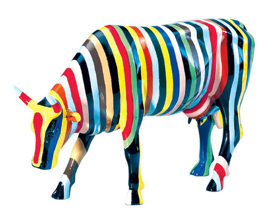 "Cary Smith: Cow object ""Striped"", art casting Handpainted"
