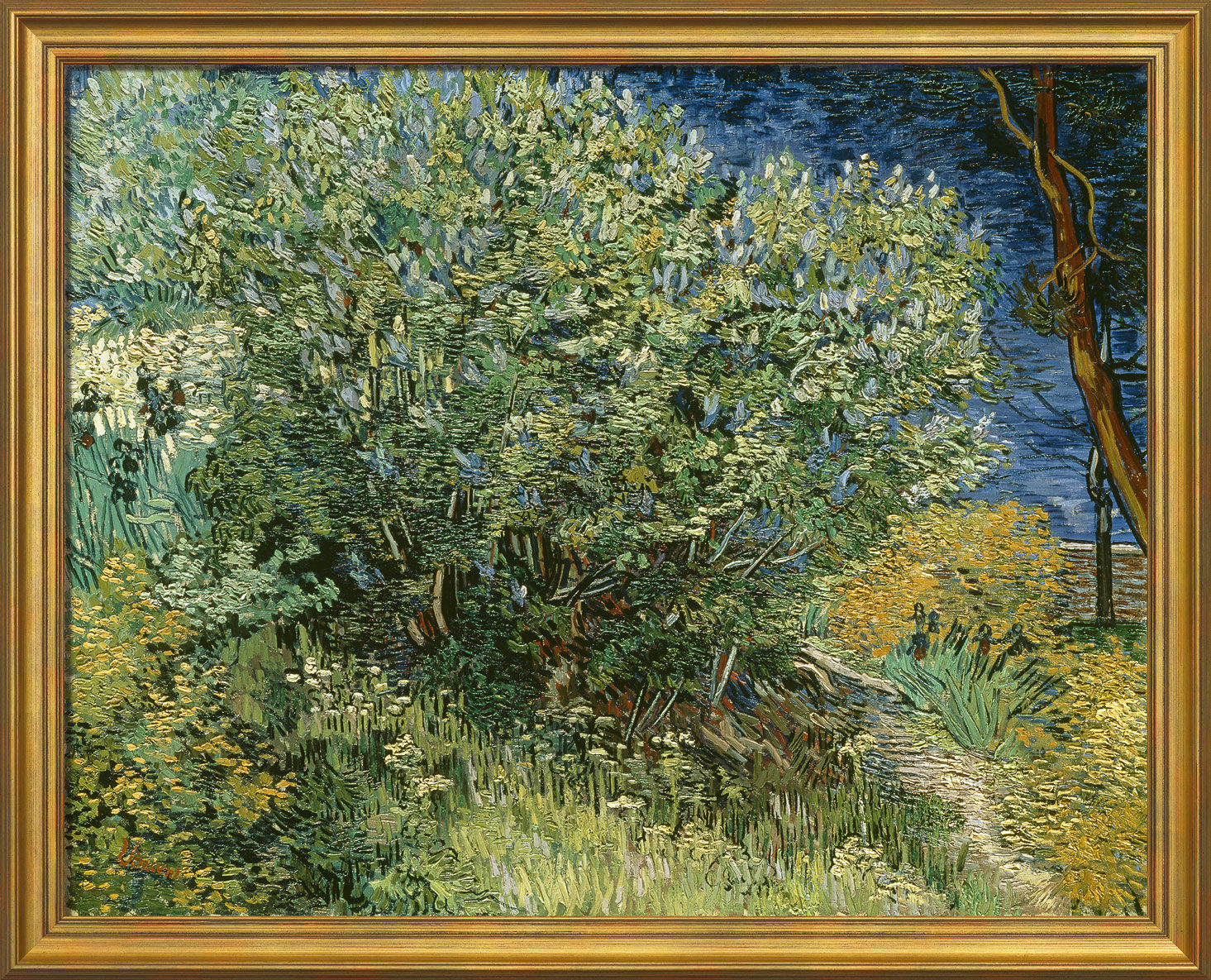 """Painting """"Lilac bush"""" (1889) in museum framing"""