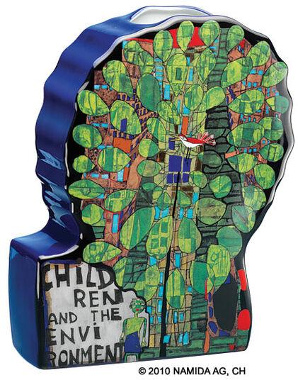 """Friedensreich Hundertwasser: (124C) Vase Object """"Singing Bird on Tree"""""""