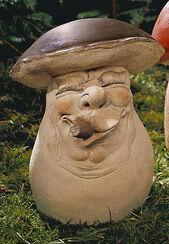 """Gartenfigur """"Der Big-Boss-Steinpilz (boletus bossus havannus)"""", Steinguss"""