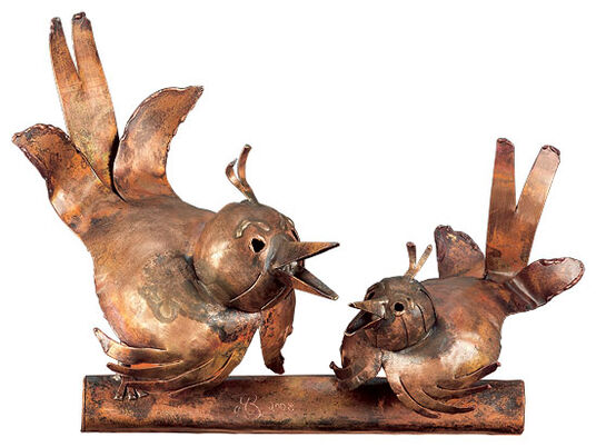 "Marcus Beitelhoff: Sculpture ""Sparrow Pair"", copper"