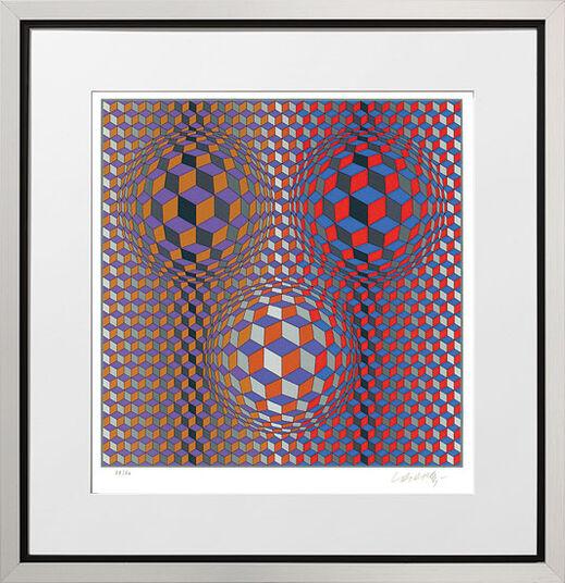 """Victor Vasarely: Bild """"Konjunktion"""" (1987), gerahmt"""