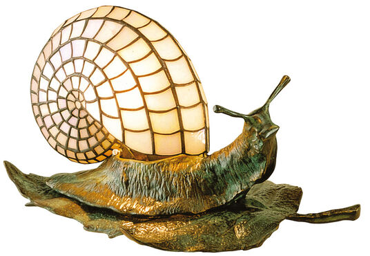 Louis C. Tiffany: 'The Snail Table Lamp on the Leaf'