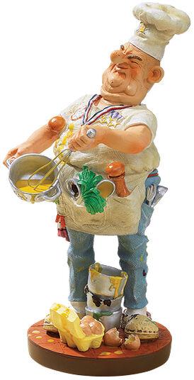 "Fons van Dommelen: Caricature ""The Cook"", hand painted, art castings"