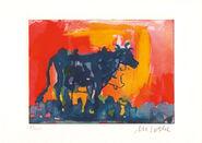 """Bild """"Die blaue Kuh im Abendlicht"""" (2016), ungerahmt"""
