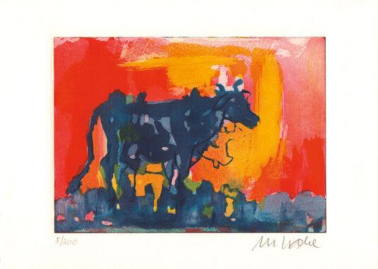 """Armin Mueller-Stahl: Bild """"Die blaue Kuh im Abendlicht"""" (2016), ungerahmt"""