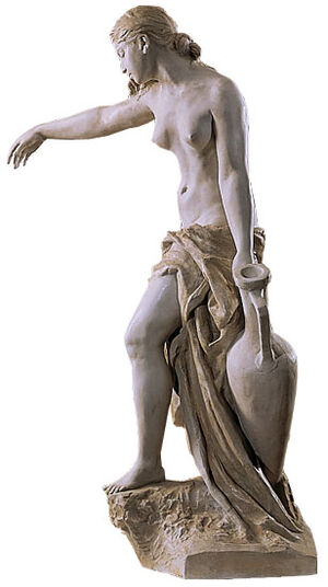 "Gustav Eberlein: Sculpture ""Rebecca carrying water "" (1897), Artificial marble edition"