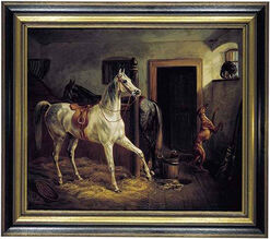 "Painting ""In Horse Stable"" (1844)"