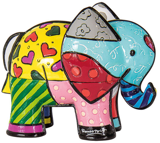 "Romero Britto: Schmuckdose ""Elefant Tonio"", Kunstguss"