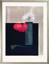 """Bild """"Vase mit zwei Anthurien"""" (1999), gerahmt"""