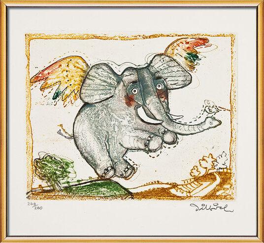 """Simon Dittrich: Bild """"Glücklicher Elefant"""", gerahmt"""