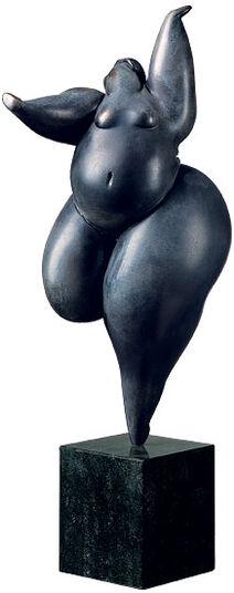 "Christian Peschke: Skulptur ""Tänzerin"", Kunstguss auf Steinsockel"