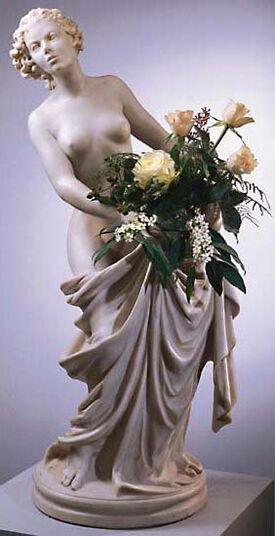 "Roman Johann Strobl: Statuette ""Flora Donata"", (with Vase Insert), Artificial Marble"