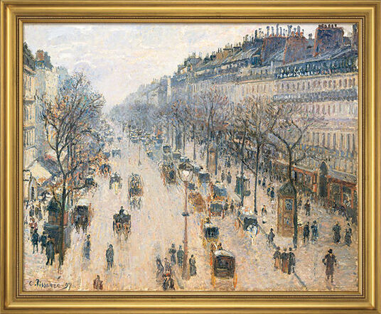"Camille Pissarro: Picture ""The Boulevard Montmartre on a Winter Morning"" (1897) in museum frame"