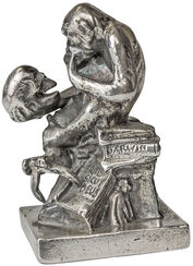 "Sculpture ""Monkey with Skull"" (1892-93), Version in Metal Casting Silvered"