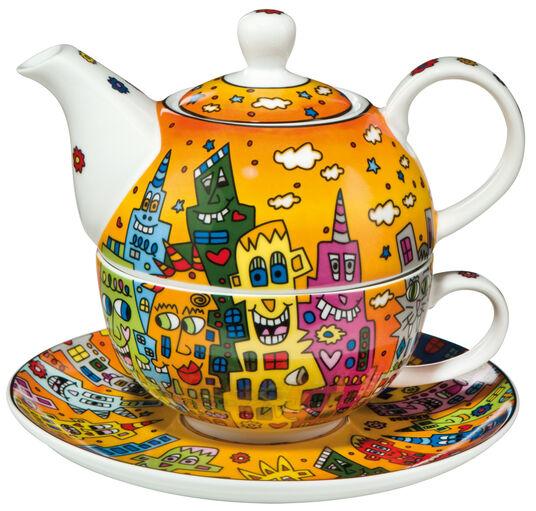 "James Rizzi: Teekanne mit integrierter Tasse ""City Sunset"", Porzellan"