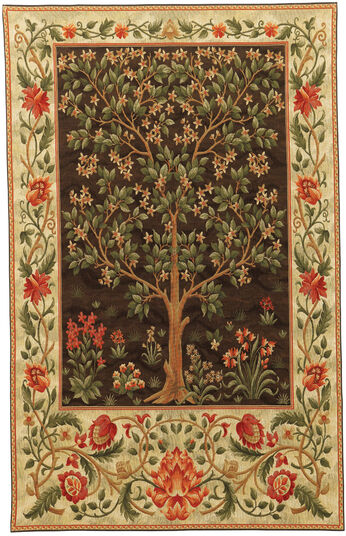 """Tapestry """"Tree of Life"""" (brown, small size 68 x 94 cm) - after Wiliam Morris"""