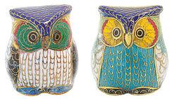 Cloisonné Owl Couple