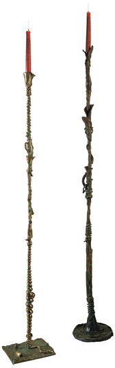 "Bruno Bruni: Set of floor candlestick ""Il Fiore dell 'Angelo"" and ""La Vitalba"", Bronze"