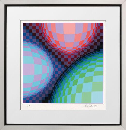 "Victor Vasarely: Bild ""Phönix Constellation"" (1987), gerahmt"