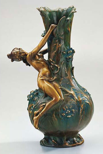 Louis Auguste Moreau: Vase 'Marguerites', version in artificial bronze