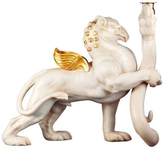 """Ernst Fuchs: Skulptur / Leuchter """"Greif und Schlange"""" (2006), Version in Kunstmarmor"""