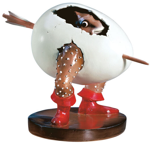 Hieronymus Bosch: Sculpture 'Egg Monster', hand-painted art casting
