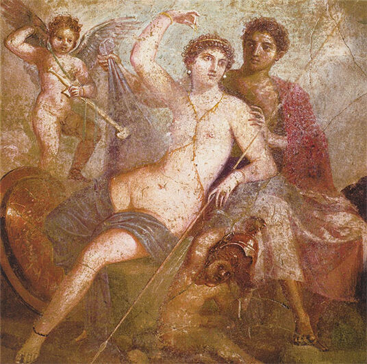 "Mural painting from Pompeii: Painting ""Mars and Venus"""