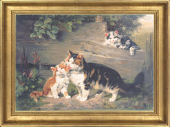 "Painting ""Cat Mother with Three Kittens"""