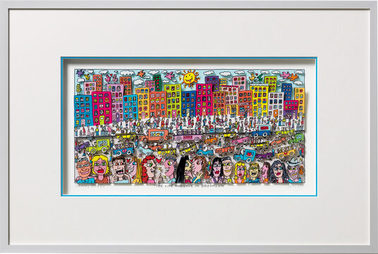 "James Rizzi: 3D-Bild ""The Life And Love In Brooklyn"" (2015), gerahmt"