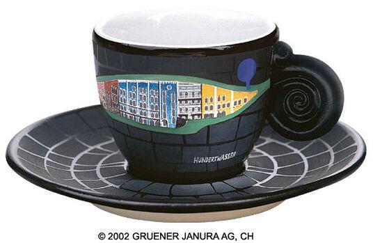 """Friedensreich Hundertwasser: Espressotasse """"Hügelwälderland"""""""