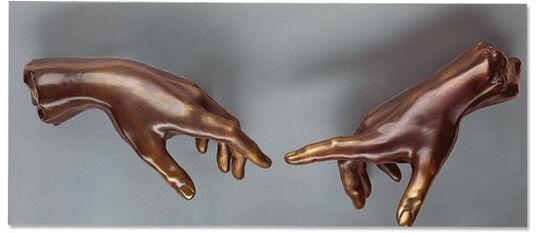 "Michelangelo Buonarroti: Wall object ""The Creation of Adam"", version in bronze"