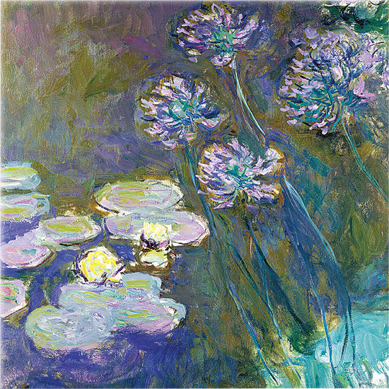 "Glass picture ""yellow water lilies and agapanthus"""