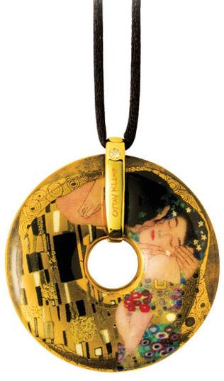 """Gustav Klimt: Porzellan-Anhänger """"Der Kuss"""" mit Stoffband"""