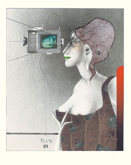 Paul Wunderlich: Painting 'Good Shot' - from the sequence of graphics 'Bellevue', without frame