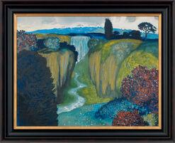 """Bild """"Landschaft mit Wasserfall"""", gerahmt"""