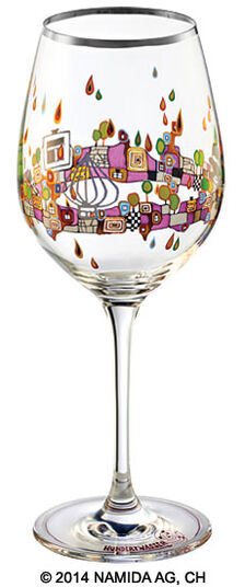 "Friedensreich Hundertwasser: (PM XIX/1) Wine glass ""BEAUTY IS A PANACEA - Platinum - white wine"""