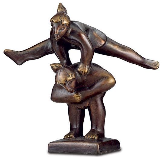 """Sybille de Braak: Sculpture """"Children at Buck Vaulting"""", Version in Artificial Bronze"""