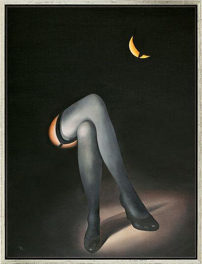 """Norman Alden Cutler: Bild """"Geteilter Mond"""", gerahmt"""